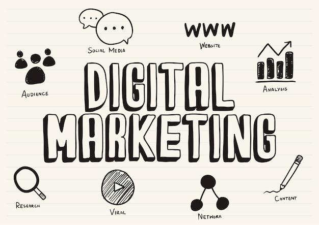 Marketing digital gribouillé sur un bloc-notes Vecteur gratuit