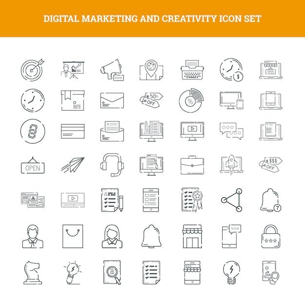 Marketing digital et jeu d'icônes de la créativité Vecteur Premium