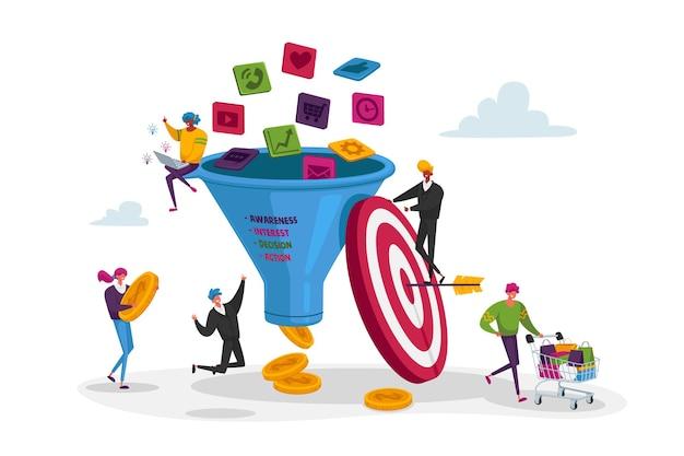 Marketing En Entonnoir. De Minuscules Personnages Mettent De L'argent Dans Un énorme Entonnoir De Vente Vecteur Premium