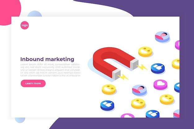 Marketing Entrant, En Ligne Ou Avec Permission, Génération De Ventes. Vecteur Premium