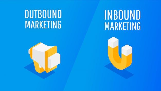 Marketing entrant et sortant de conception isométrique Vecteur Premium
