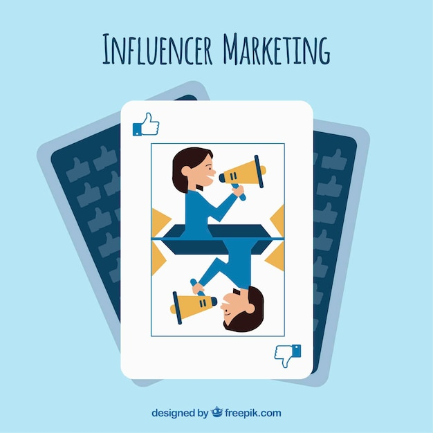Marketing d'influence dans la conception de cartes à jouer Vecteur gratuit