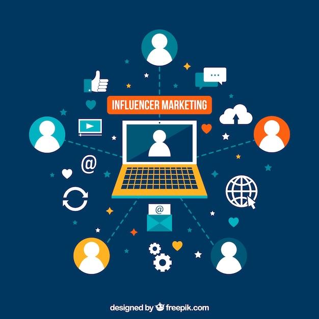 Marketing d'influence plane illustration Vecteur gratuit