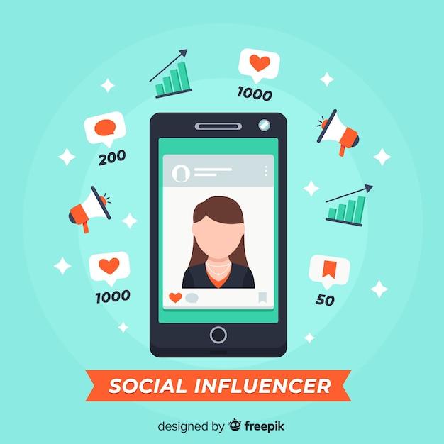 Marketing d'influence sociale Vecteur gratuit