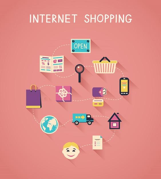 Marketing internet et infographie des achats en ligne Vecteur Premium