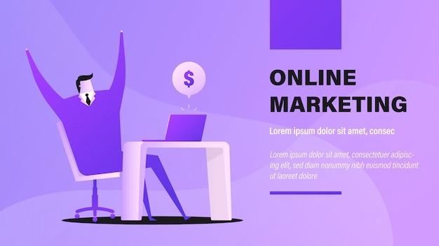 Marketing en ligne. Vecteur Premium