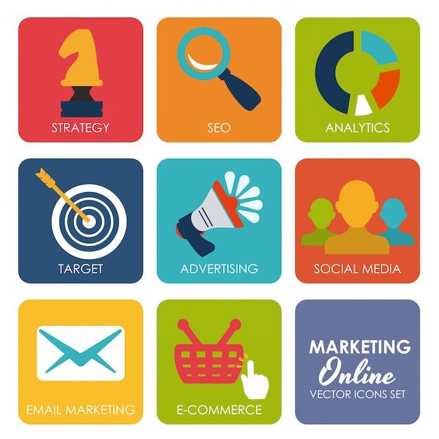 Marketing en ligne Vecteur Premium