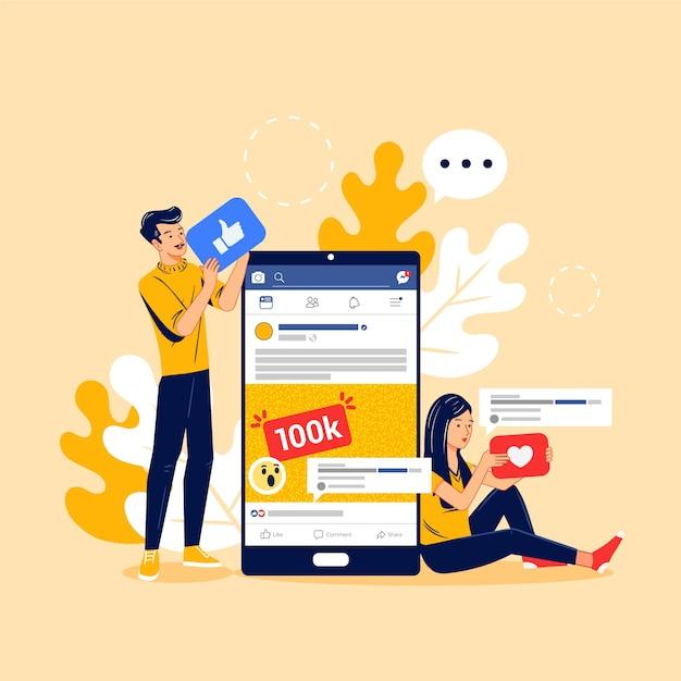 Marketing Des Médias Sociaux Sur La Conception Mobile Vecteur gratuit