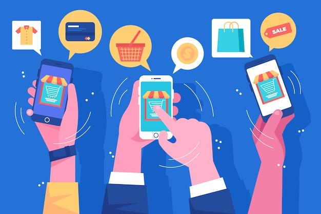 Marketing De Médias Sociaux Illustration De Téléphone Mobile Vecteur gratuit
