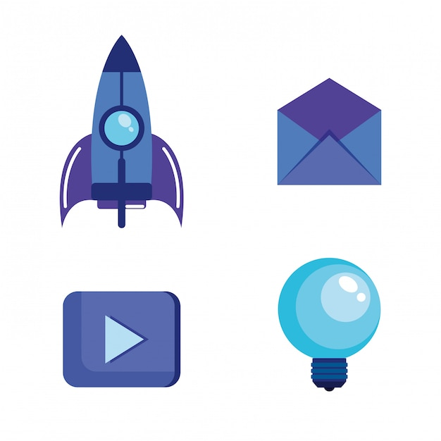 Marketing des médias sociaux mis en icônes Vecteur gratuit