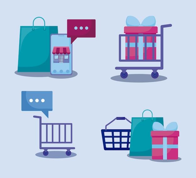 Marketing des médias sociaux mis en icônes Vecteur Premium