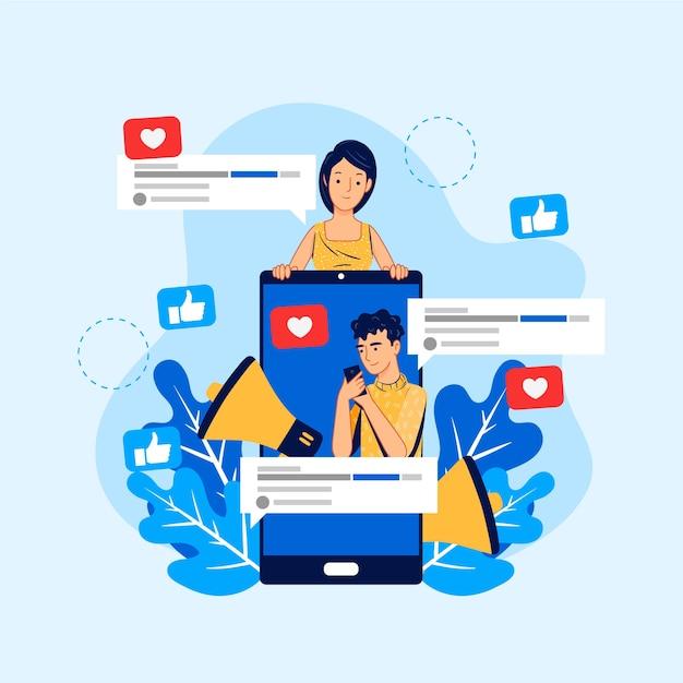 Marketing Des Médias Sociaux Sur Le Style Mobile Vecteur Premium