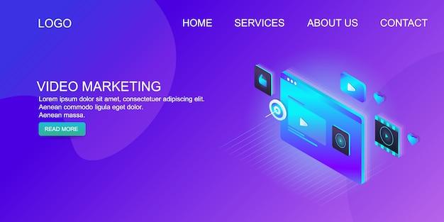 Marketing vidéo numérique Vecteur Premium