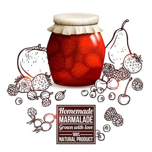 Marmelade jar concept Vecteur gratuit