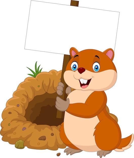 Marmotte De Dessin Anime Tenant Une Pancarte Blanche Vecteur Premium