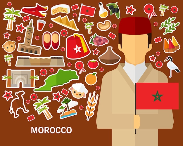 Maroc Concept Fond. Icônes Plates Vecteur Premium