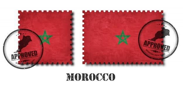 Maroc ou drapeau marocain modèle timbre-poste Vecteur Premium