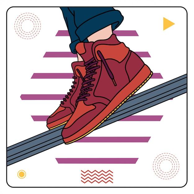 Maroon sneakers facile editable Vecteur Premium