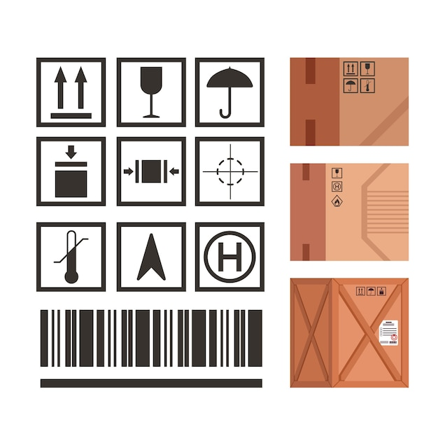 Le Marquage Des Emballages Industriels Définit Des Symboles D'icônes De Manipulation De Colis. Règles D'application Des Icônes De Symboles De Package Avec Des Exemples D'illustrations. Vecteur Premium