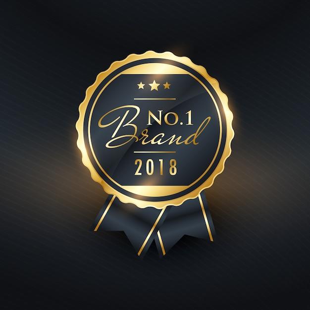 Marque n ° 1 de l'année conception d'étiquette dorée Vecteur gratuit
