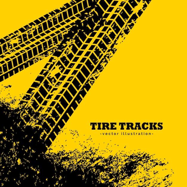 Marques de traces de pneus sur fond jaune grunge Vecteur gratuit