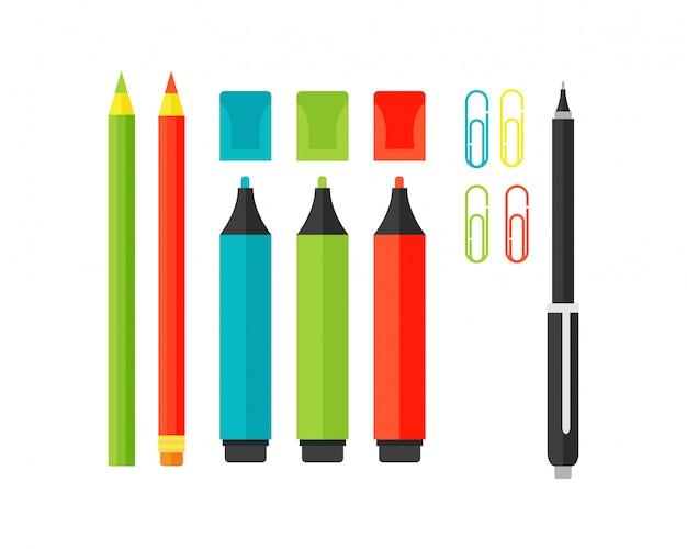 Marqueurs de couleur marqueurs de fournitures scolaires illustration vectorielle. Vecteur Premium