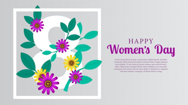 Mars jour de la femme heureuse Vecteur Premium