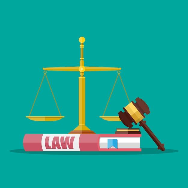 Marteau De Juge Avec Livres De Droit Et échelles Vecteur Premium