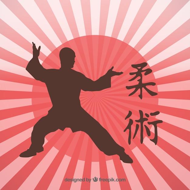 Martial Art Kick Silhouette Japonaise Vecteur gratuit