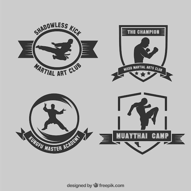 Martial Collection De Badges D'art Vecteur gratuit