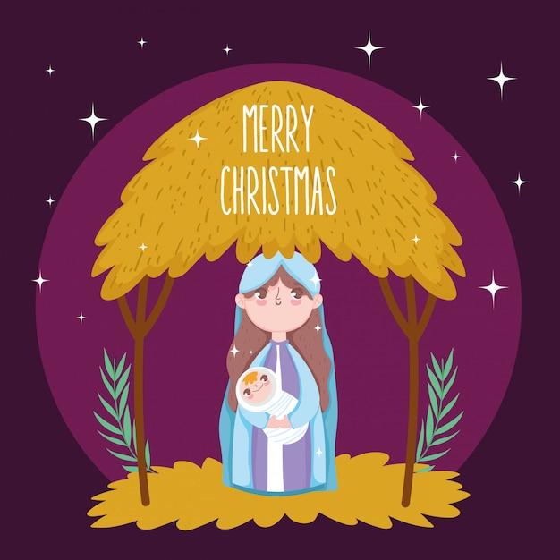 Mary baby jesus hut mange crèche, joyeux noel Vecteur Premium