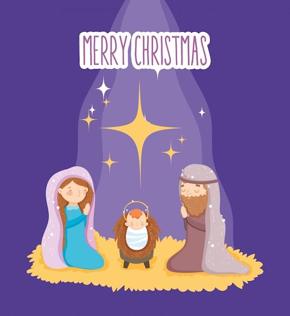 Mary Joseph Et Crèche Bébé, Joyeux Noël Vecteur Premium
