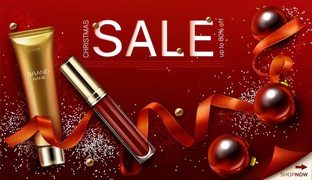 Mascara Et Cadeaux De Cosmétiques De Noël Brillant à Lèvres, Modèle De Bannière De Vente De Noël Vecteur gratuit