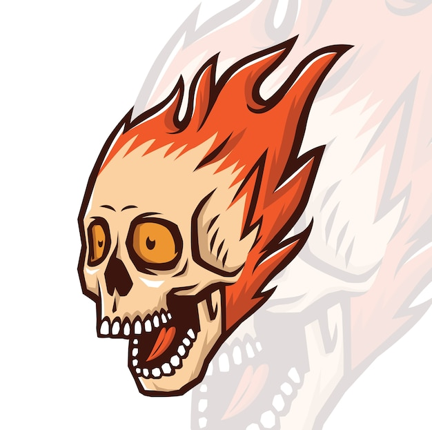 Mascot brulant de crâne Vecteur Premium