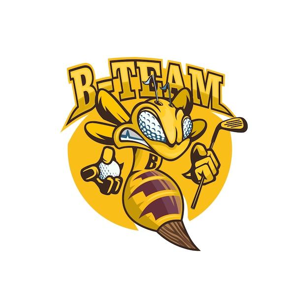 Mascotte abeille avec équipement de golf logo avispa Vecteur Premium