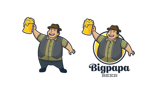 Mascotte De Bière Rétro Big Papa Vecteur Premium