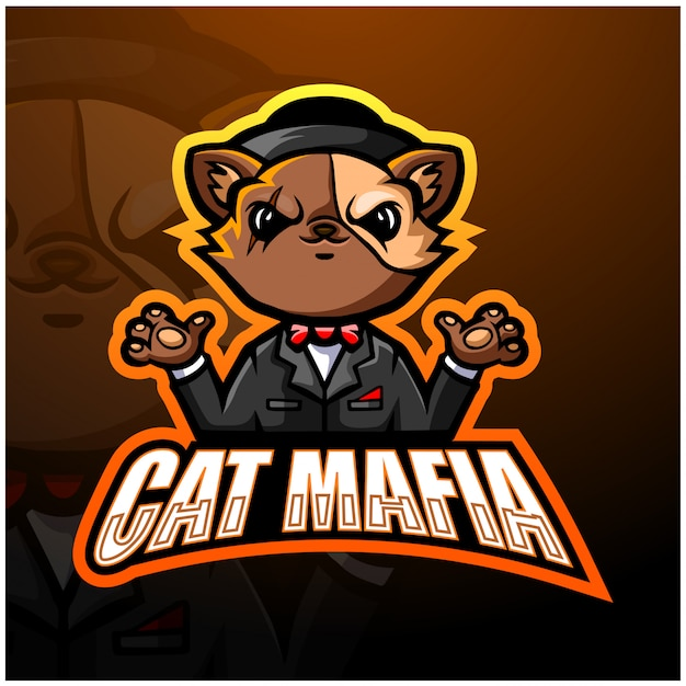 Mascotte De Chat Mafia Esport Illustration Vecteur Premium