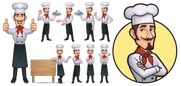Mascotte de chef de bande dessinée Vecteur Premium