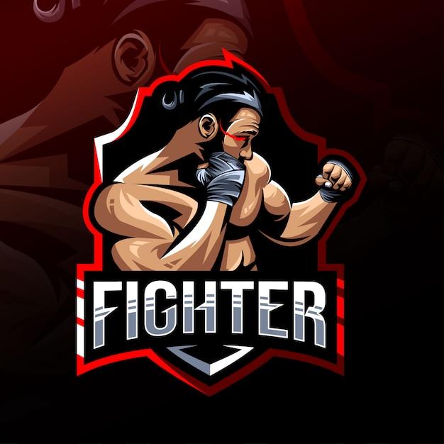 Mascotte De Combattant Logo Esport Vecteur Premium