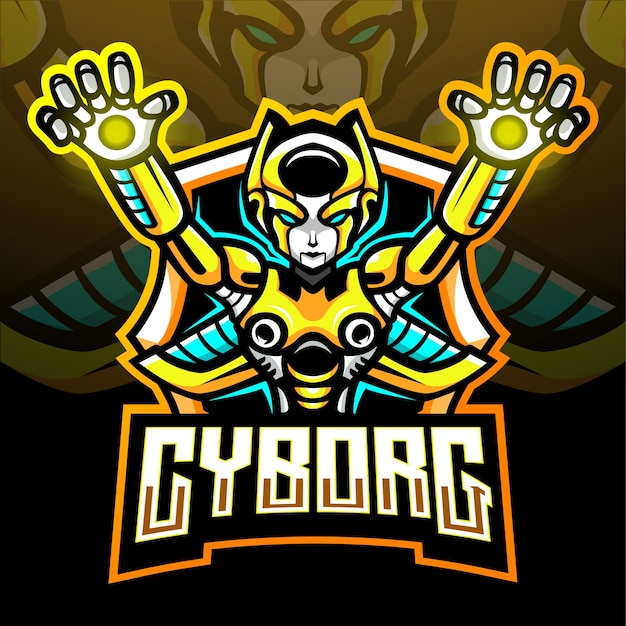 Mascotte De Cyborg. Logo Esport Vecteur Premium