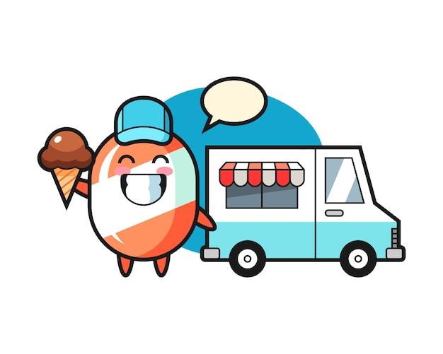 Mascotte De Dessin Animé De Bonbons Avec Camion De Crème Glacée Vecteur Premium