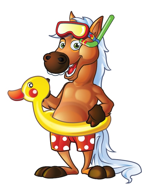 Mascotte de dessin anim de poney nageur t l charger des vecteurs premium - Dessin anime avec des poneys ...