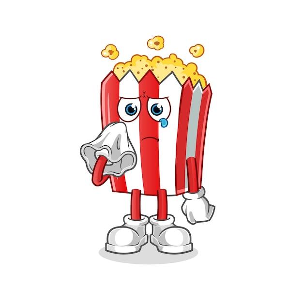 Mascotte De Dessin Animé De Pop-corn Pleurer Avec Un Mouchoir Vecteur Premium