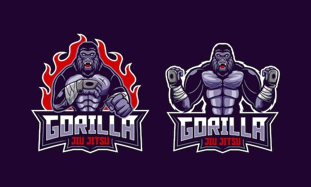 Mascotte Du Logo Du Gorille Jiu Jitsu En Colère Vecteur Premium