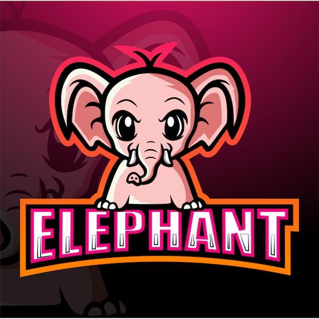Mascotte D'éléphant Esport Illustration Vecteur Premium