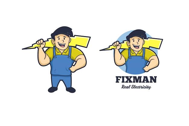 Mascotte Fixman Electricity Logo Vecteur Premium