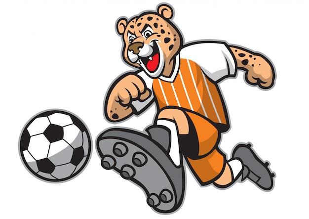 Mascotte de football léopard Vecteur Premium