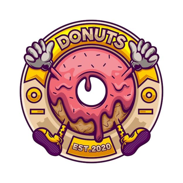 Mascotte De Logo Donut En Badge Cercle Vecteur Premium