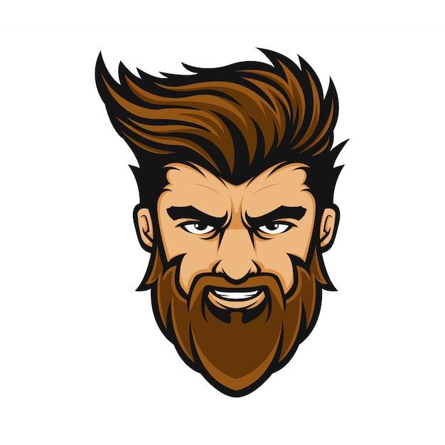 Mascotte logo homme coiffure barbe Vecteur Premium