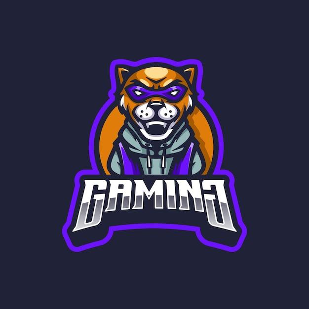 Mascotte De Logo De Jeu De Lion Vecteur Premium